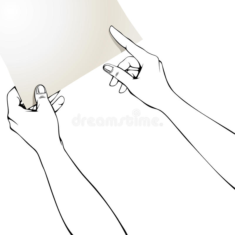 Manos que señalan el dedo en el papel. ilustración del vector