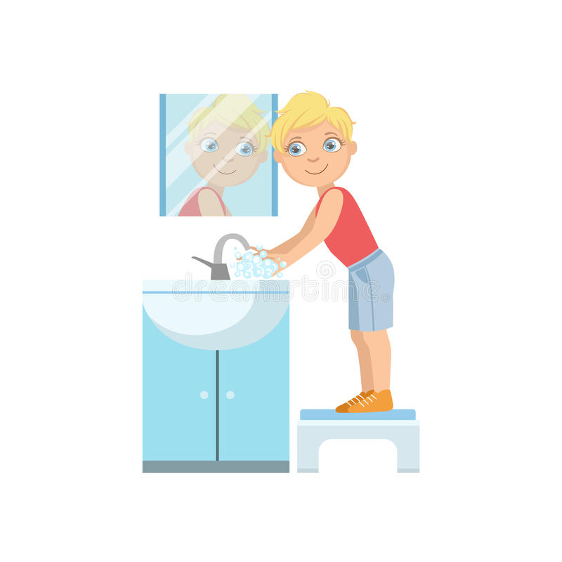 Manos que se lavan del muchacho en golpecito del cuarto de baño stock de ilustración