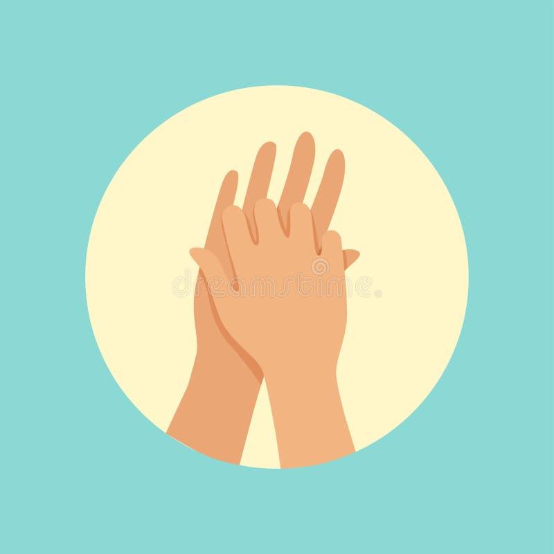 Manos que se lavan entre el ejemplo redondo del vector de los fingeres stock de ilustración