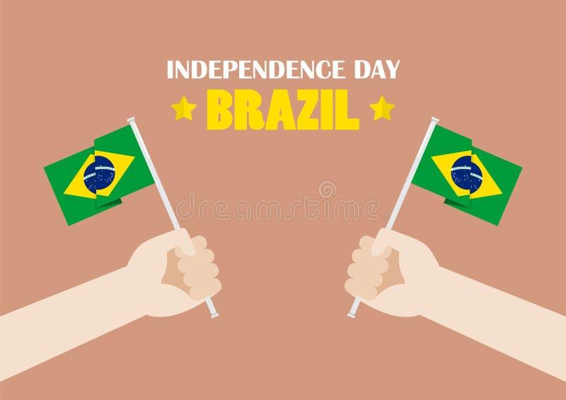 Manos que soportan las banderas del Brasil ilustración del vector