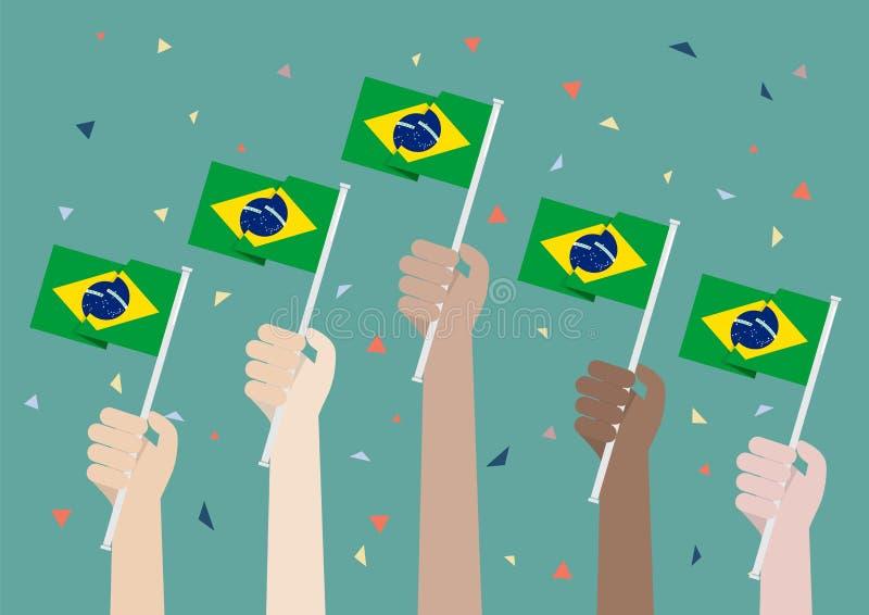 Manos que soportan las banderas del Brasil stock de ilustración