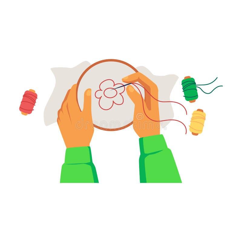 Manos que sostienen el aro con la lona y que bordan estilo de la historieta de la flor libre illustration