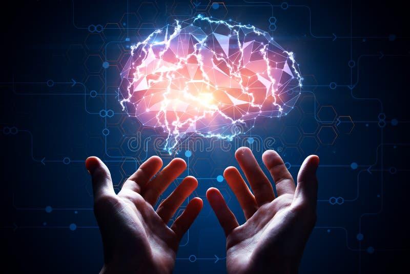 Manos que sostienen el cerebro artificial stock de ilustración