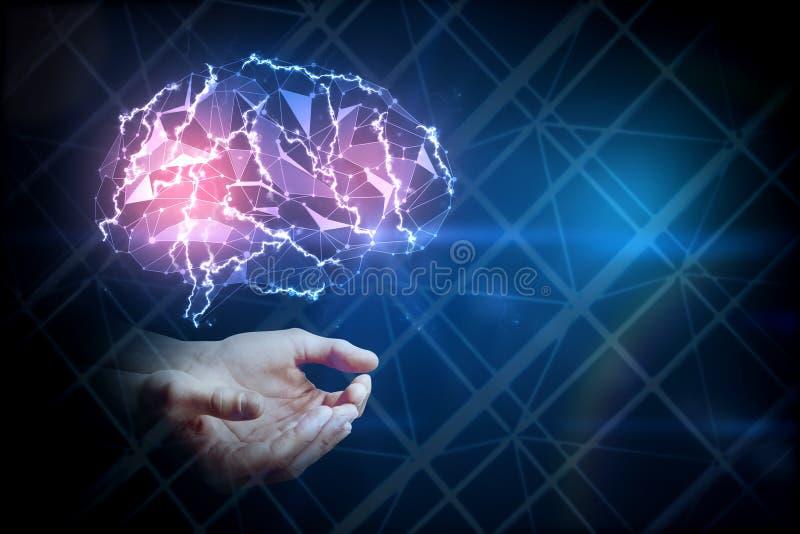 Manos que sostienen el cerebro del gloiwng, concepto de la ciencia libre illustration