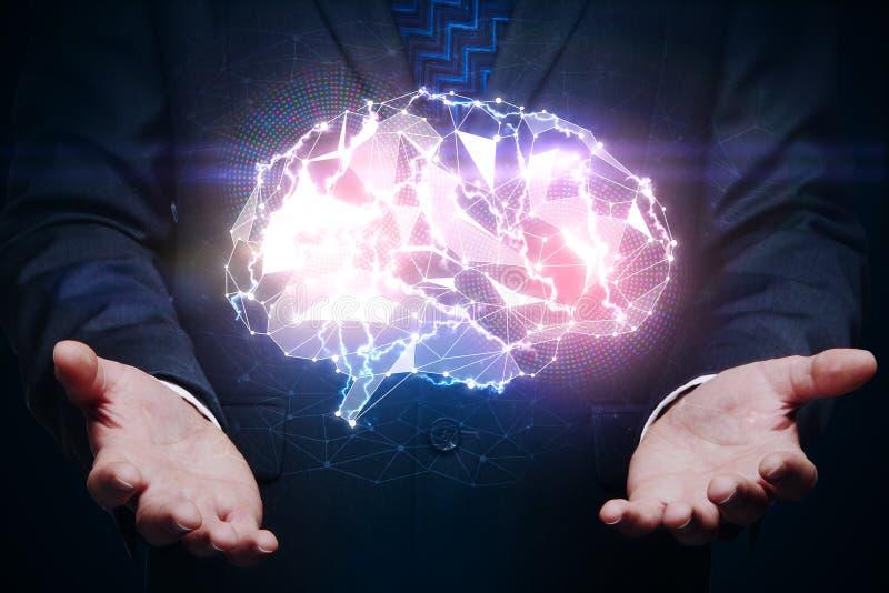 Manos que sostienen el cerebro del gloiwng, concepto de la innovación stock de ilustración