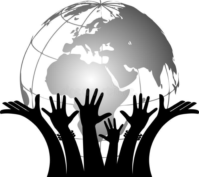 Manos que sostienen el globo ilustración del vector