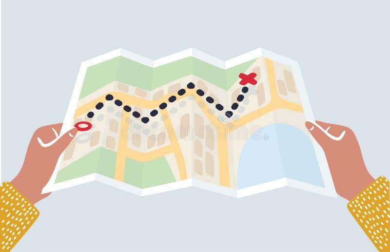 Manos que sostienen el mapa de papel stock de ilustración