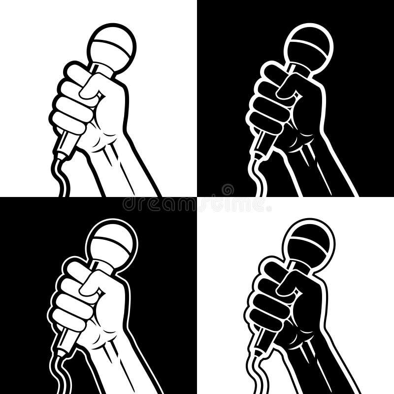 Manos que sostienen el micrófono en un puño libre illustration