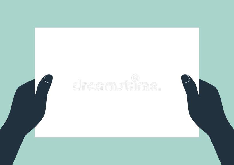 Manos que sostienen el papel en blanco libre illustration