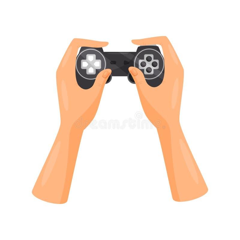 Manos que sostienen el regulador del videojuego, ejemplo del vector del concepto del juego en un fondo blanco stock de ilustración