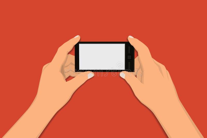Manos que sostienen el teléfono elegante libre illustration
