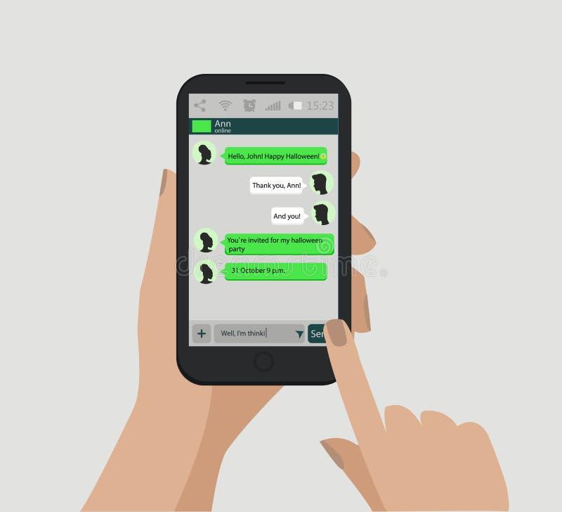 Manos que sostienen el teléfono elegante Concepto social de la red Vector Ventana del mensajero C libre illustration