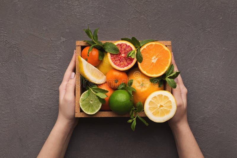 Manos que sostienen la caja de frutas exóticas imágenes de archivo libres de regalías