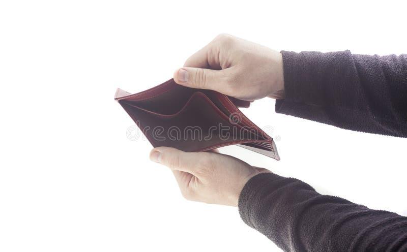 Manos que sostienen la cartera vacía fotografía de archivo libre de regalías