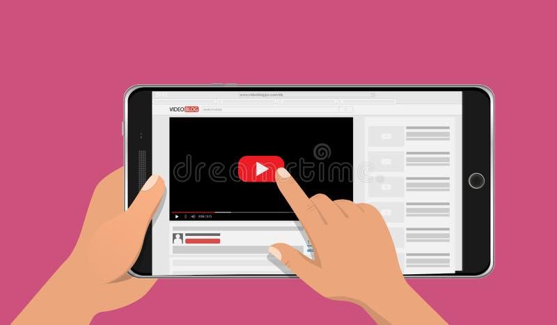 Manos que sostienen la maqueta elegante del teléfono con la pantalla video en línea del blog Concepto de Vlog Ilustración del vec libre illustration