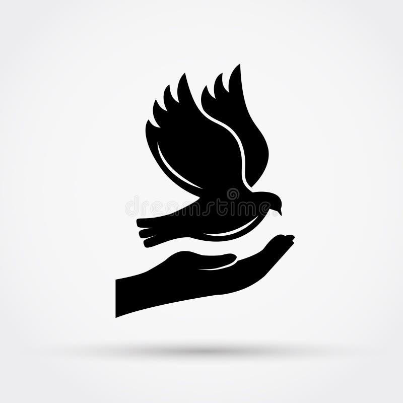 Manos que sostienen la paloma Concepto de la paz ilustración del vector