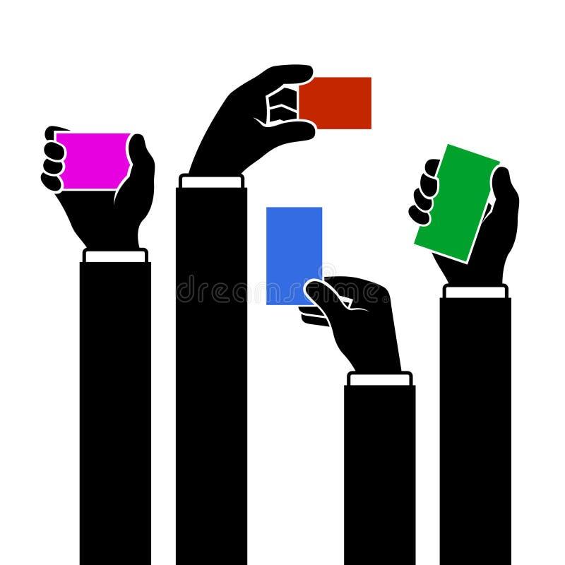 Manos que sostienen la tarjeta de visita en blanco, vector stock de ilustración