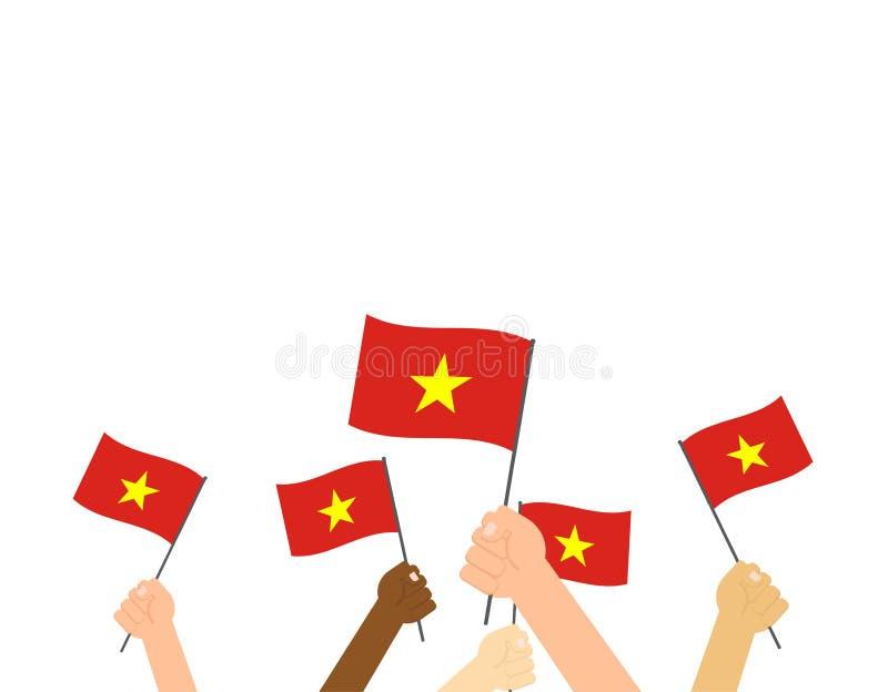 Manos que sostienen las banderas de Vietnam stock de ilustración