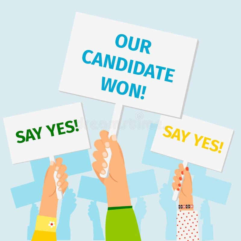 Manos que sostienen los carteles de la elección presidencial ilustración del vector