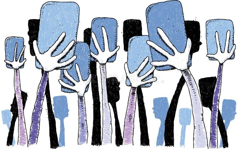 Manos que sostienen los teléfonos libre illustration