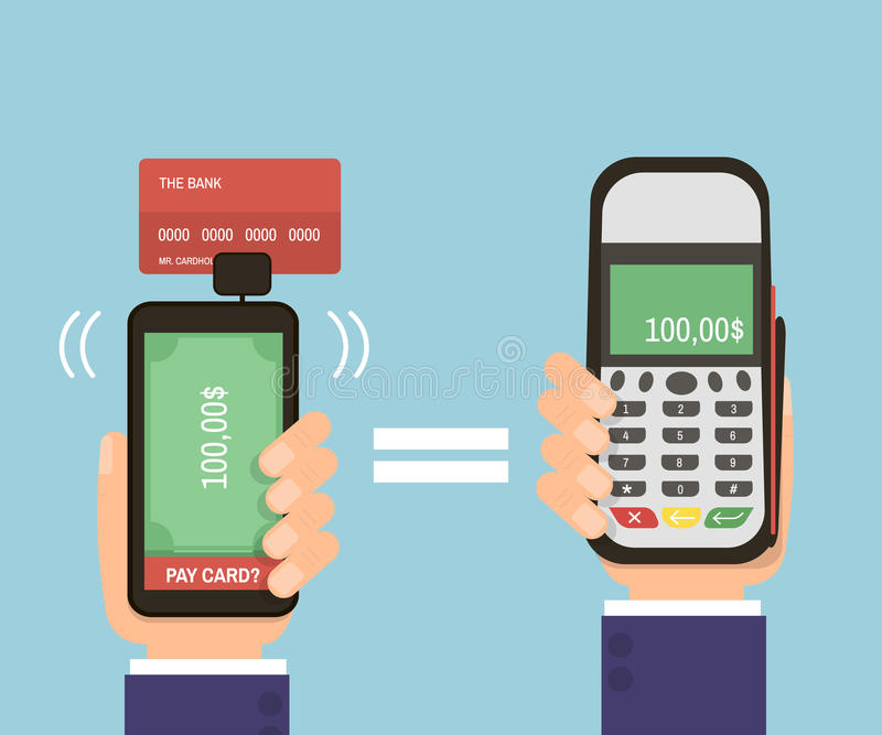 Manos que sostienen smartphone con la tarjeta de banco y el terminal de la paga Tarjeta de crédito móvil de la paga Tecnología mo libre illustration
