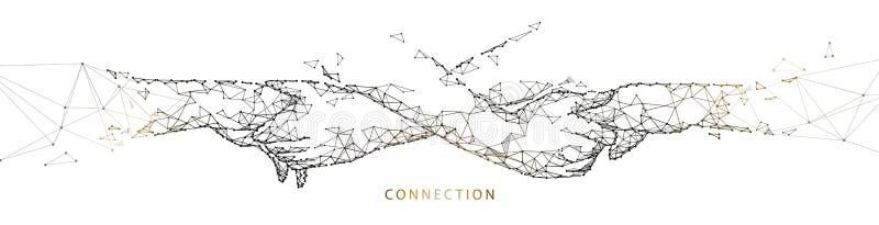 Manos que tocan junto trabajo en equipo, concepto de la conexión L?neas, tri?ngulos y dise?o del estilo de la part?cula ilustración del vector