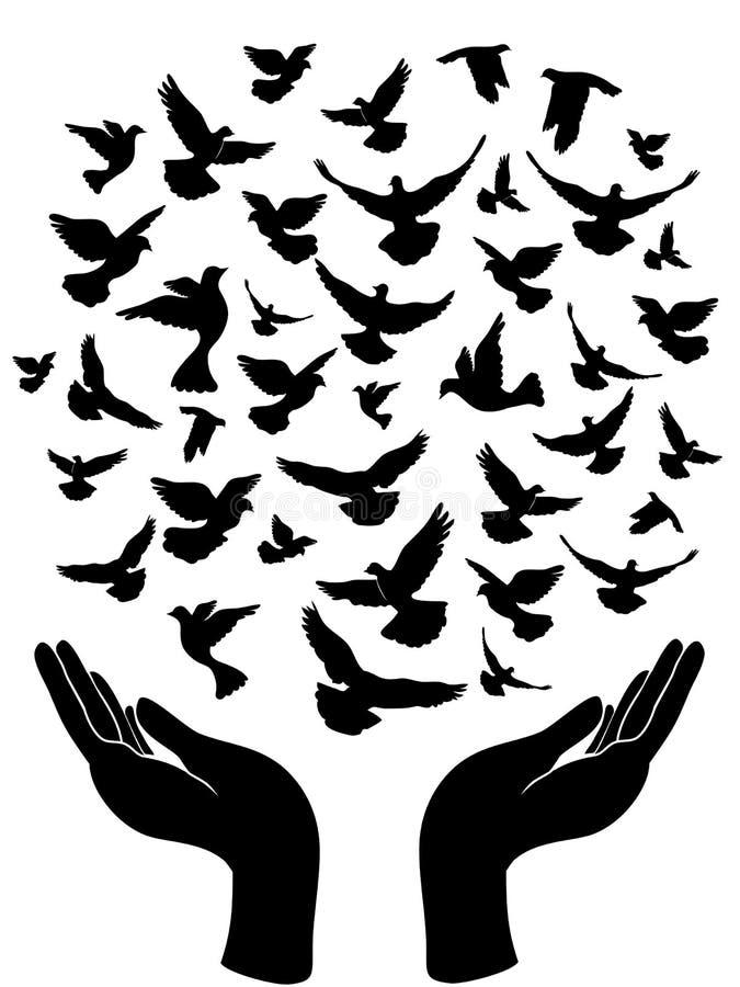 Manos release/versión la paloma de la paz ilustración del vector