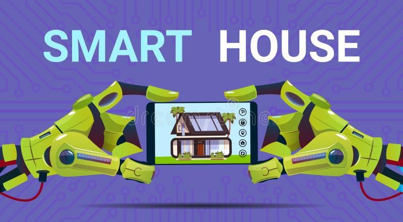 Manos robóticas que sostienen la tableta de Digitaces con tecnología elegante del interfaz de la supervisión de la casa del conce libre illustration