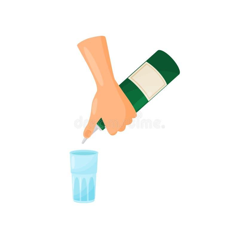 Manos silueteadas de un camarero que vierte de una botella a trav?s de un g?iser en un vidrio libre illustration