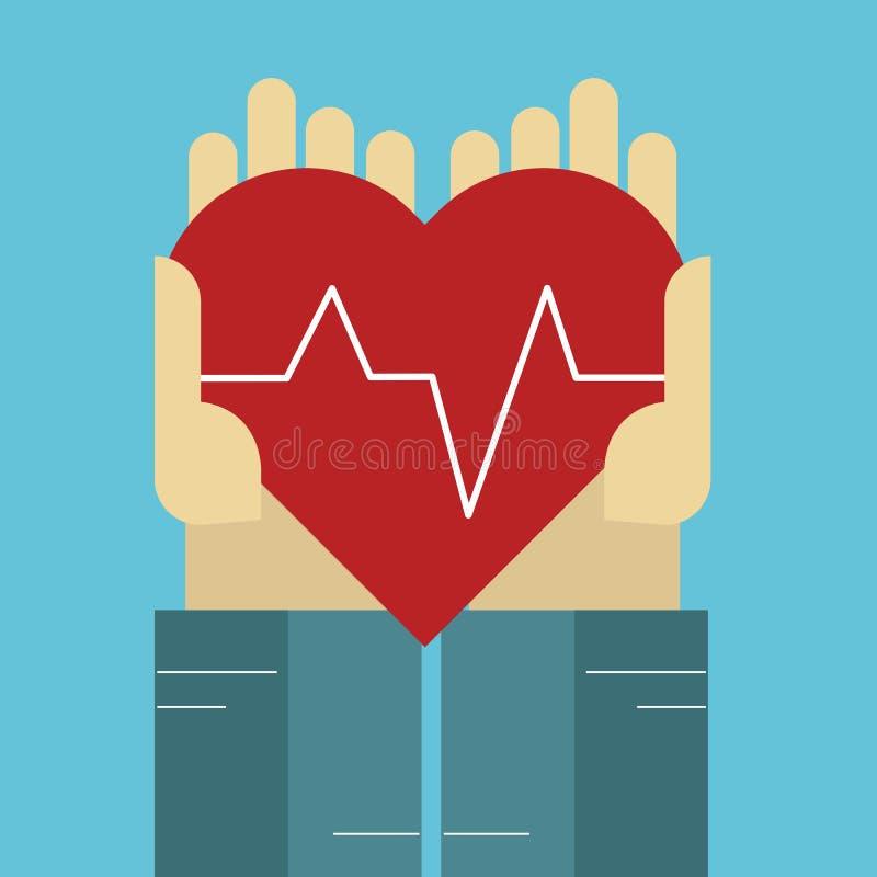 Manos sosteniendo un corazón rojo Icono médico plano Vector ilustración del vector