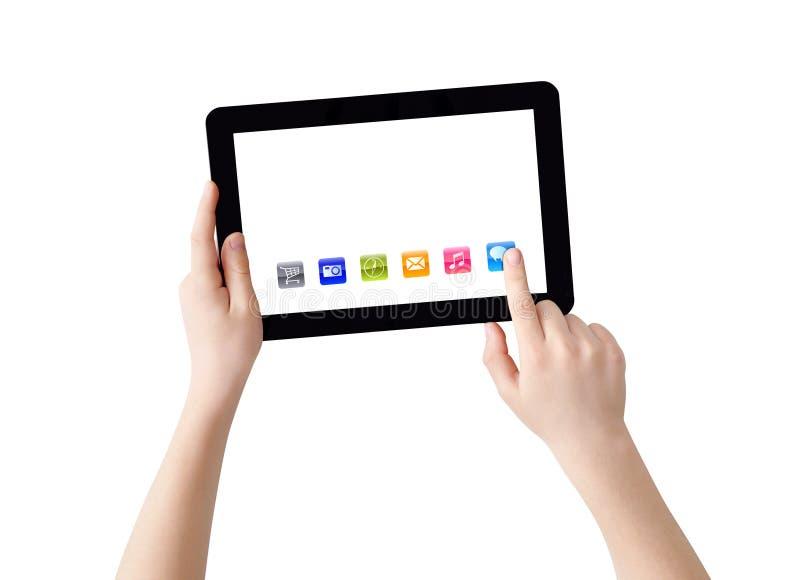Manos, tablilla y apps imágenes de archivo libres de regalías