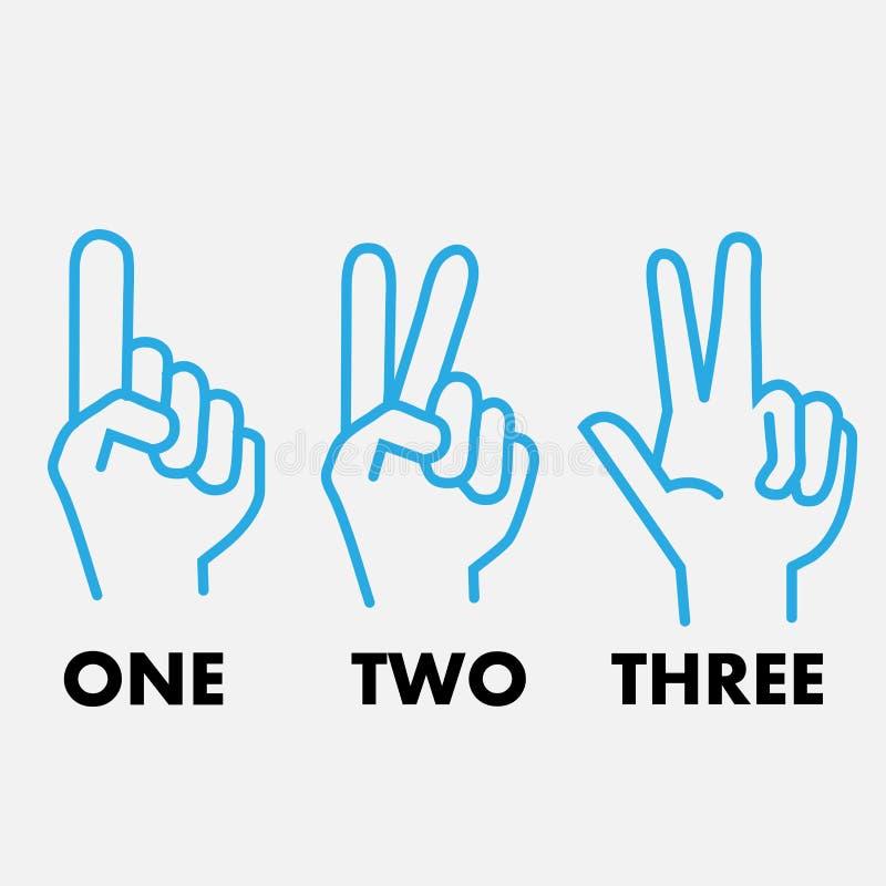 Manos una de los logotipos dos ejemplo de tres vectores stock de ilustración