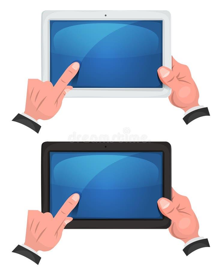 Manos usando la pantalla táctil en la tableta de Digitaces stock de ilustración