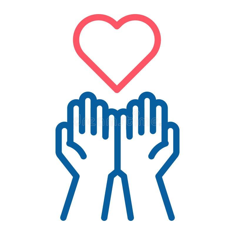 Manos vacías que reciben el icono rojo del corazón Aceptar amor, ayuda, buena libre illustration