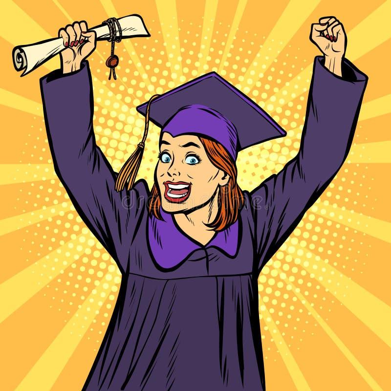Manos victoriosas del gesto del graduado alegre de la mujer para arriba stock de ilustración