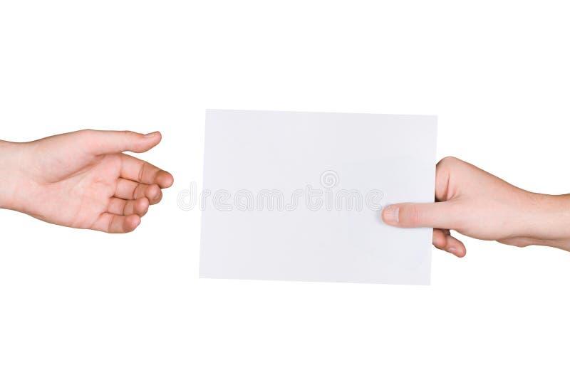 Manos y carta foto de archivo libre de regalías