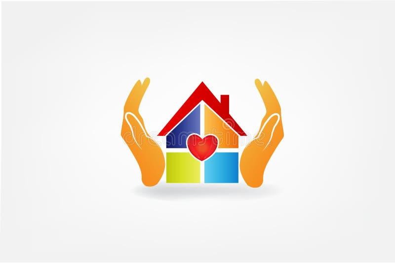 Manos y casa del logotipo con una imagen del vector del amor del corazón stock de ilustración