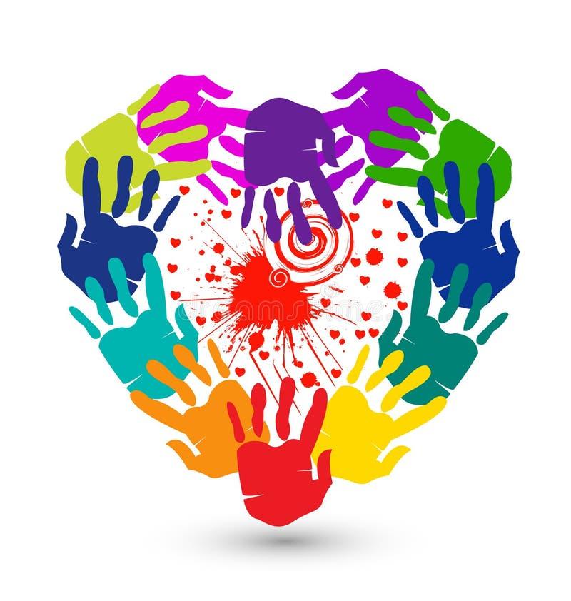Manos y chapoteo del logotipo de los corazones stock de ilustración
