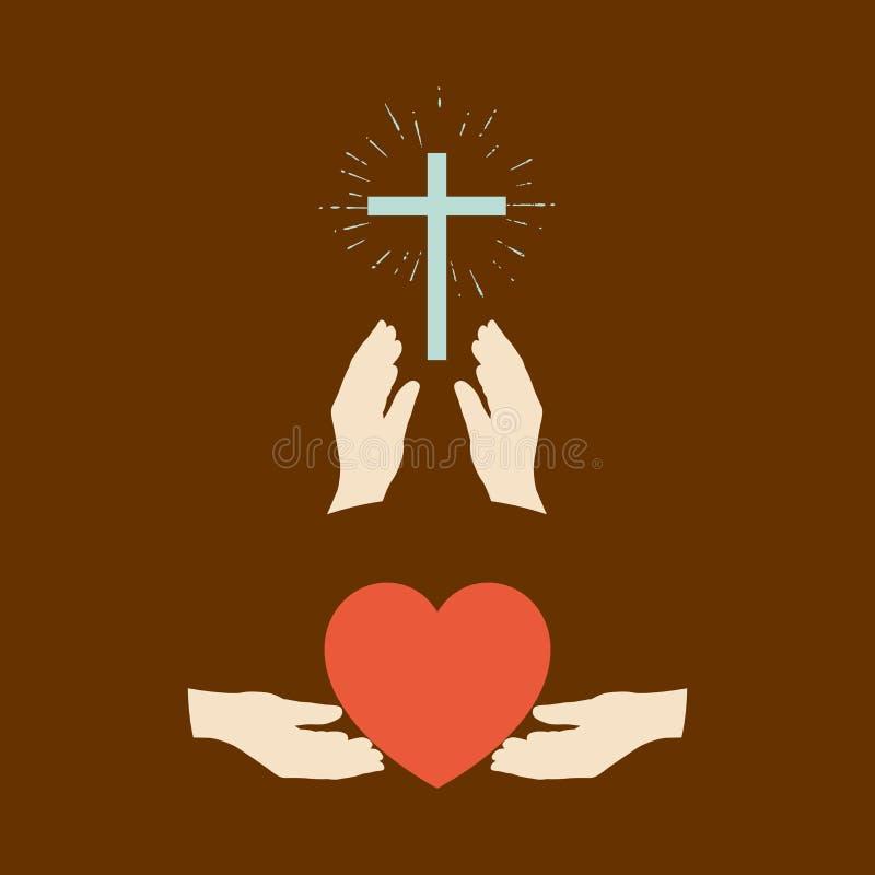 Manos y corazón, manos y cruz ilustración del vector