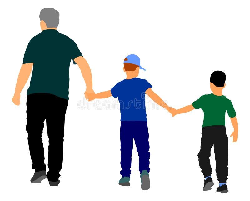 Manos y el caminar del abuelo y del control de los nietos Ejemplo de abuelo del vector del nieto que lleva