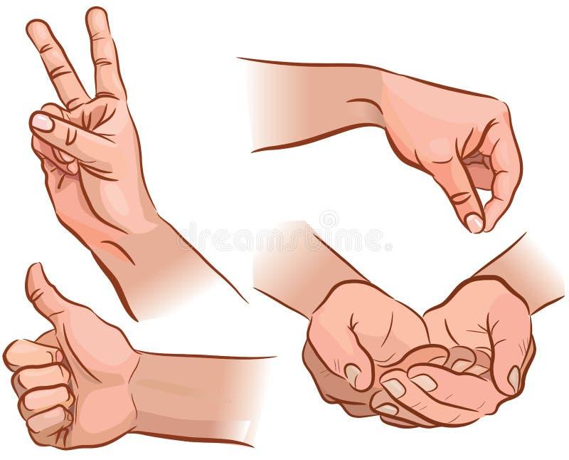 Manos y gestos stock de ilustración