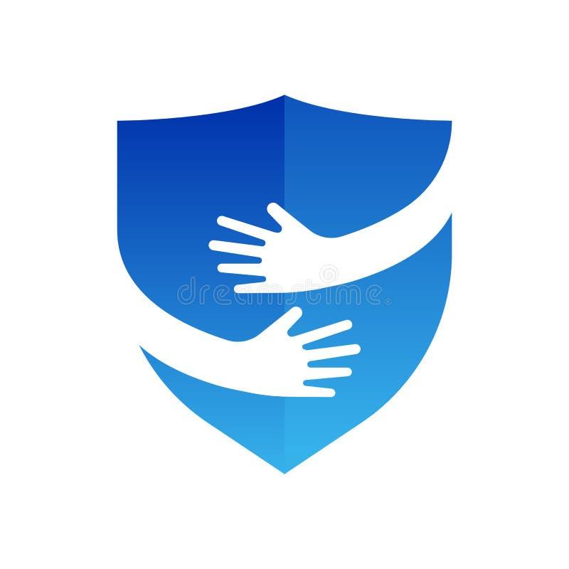 Manos y logotipo del escudo Diseño abstracto de la insignia Seguridad y símbolo o icono del abrazo Único proteja y logotipo de la ilustración del vector