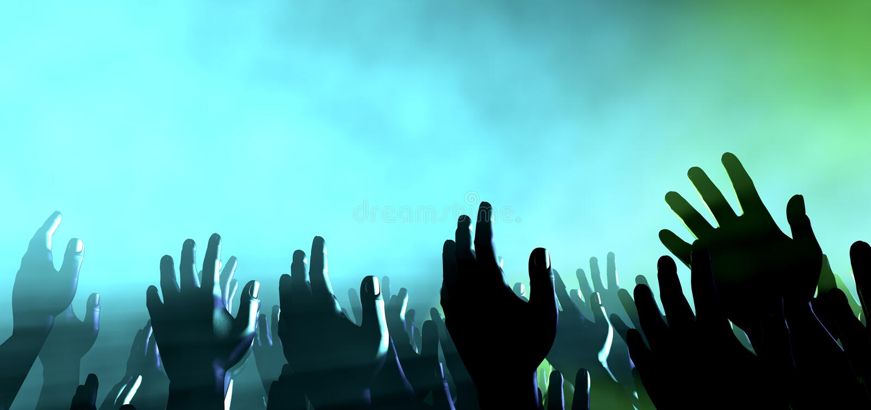 Manos y luces de la audiencia en el concierto imagen de archivo