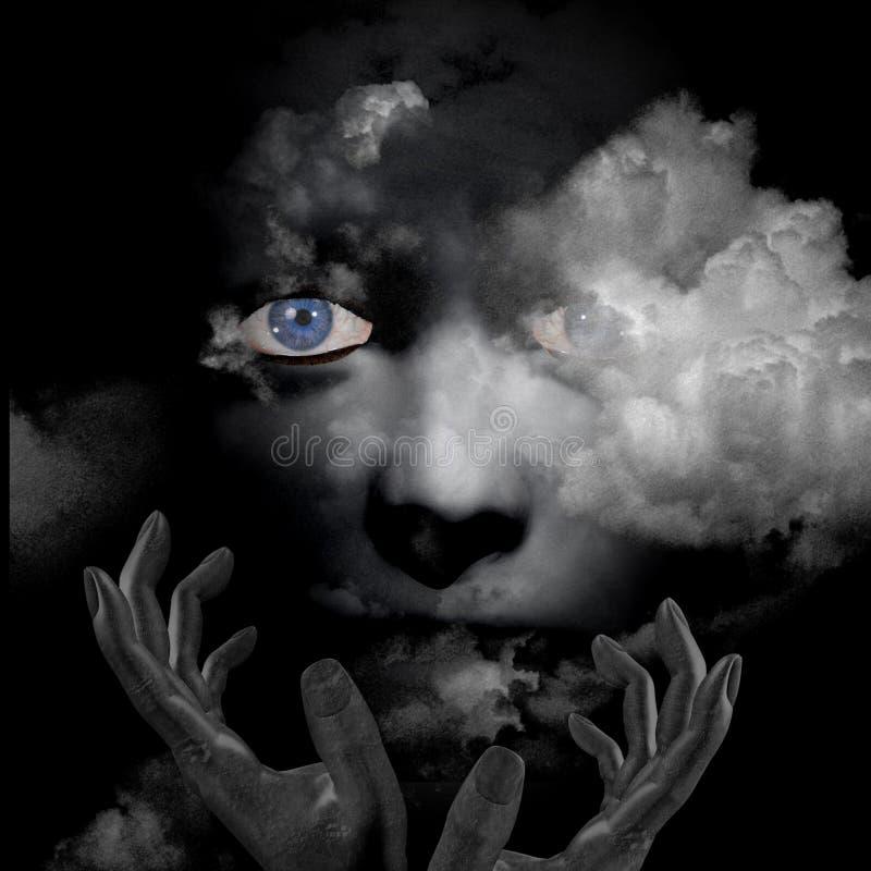 Manos y nubes del rostro humano stock de ilustración
