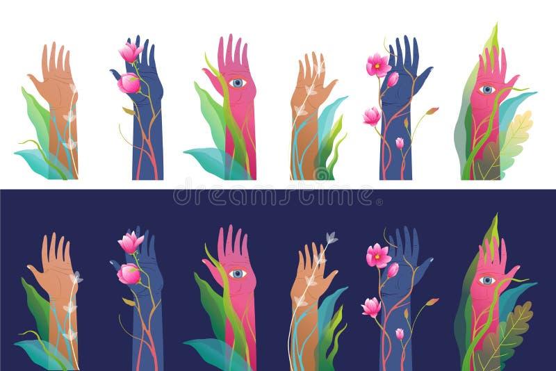 Manos y palmas levantadas con los ojos mirando el diseño esotérico espiritual separado en blanco imagen de archivo libre de regalías