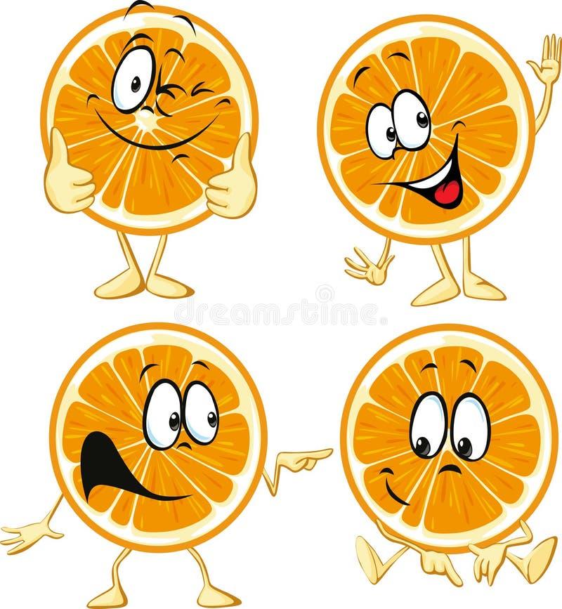 Manos y piernas anaranjadas divertidas del ingenio de la historieta stock de ilustración