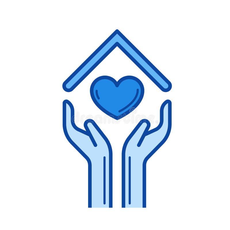 Manos y tejado de la casa con la línea de corazón icono ilustración del vector