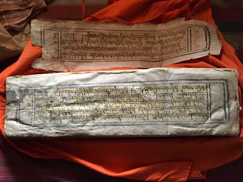 Manoscritti antichi - monastero di Thiksey fotografia stock libera da diritti