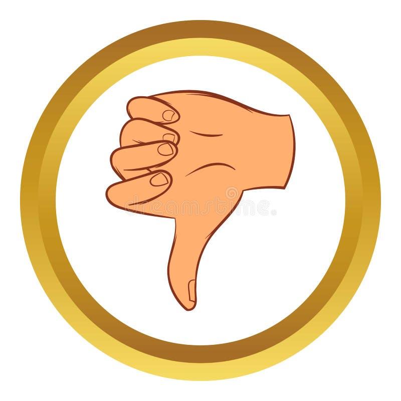 Manosee con los dedos abajo del icono del vector del gesto, estilo de la historieta stock de ilustración