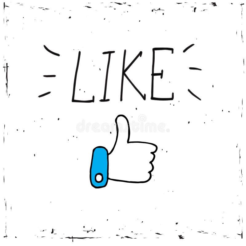 Manosee con los dedos encima de medios icono social en el fondo blanco El vector, ejemplo, palabra de la caligrafía tiene gusto ilustración del vector
